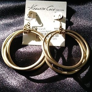 Kenneth Cole Matte Gold Earrings NWT